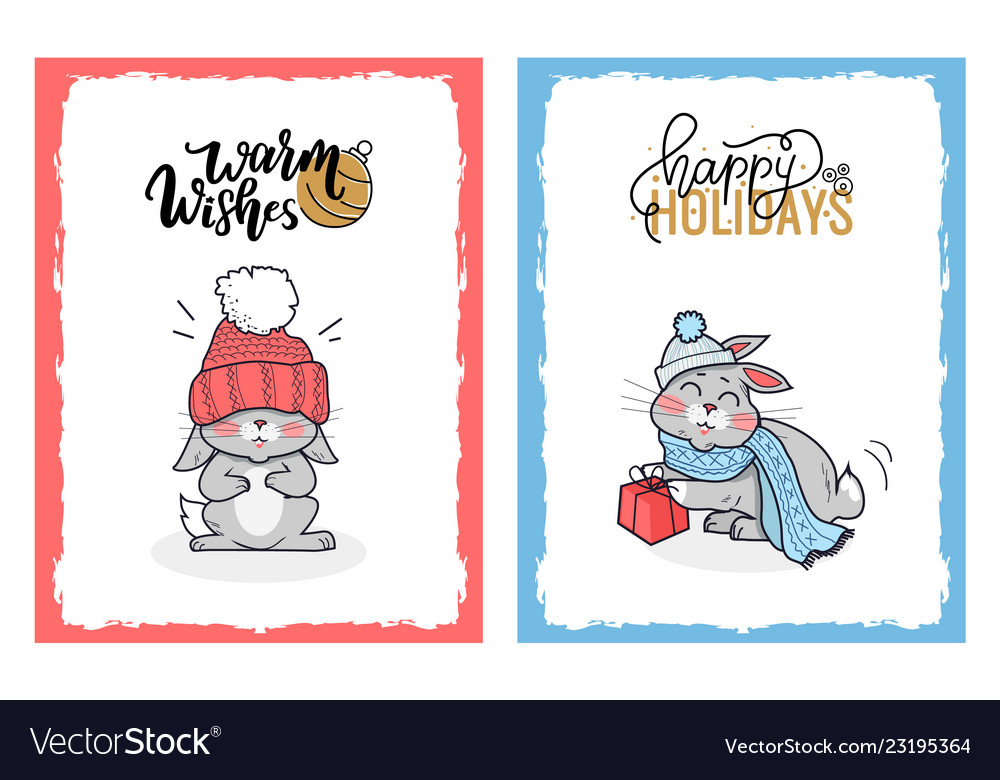 Clipart of lovely rabbits on christmas cards