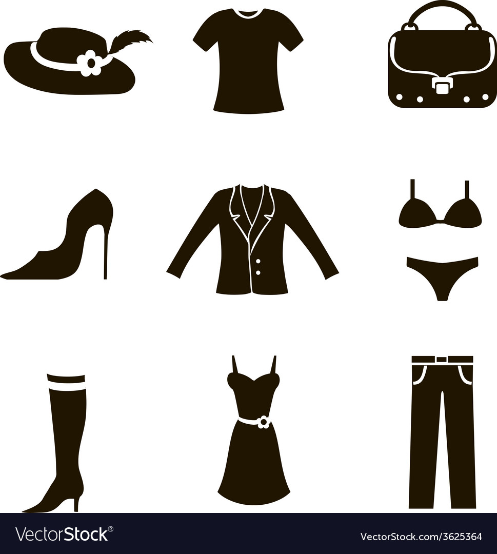 Clothes icon set woman
