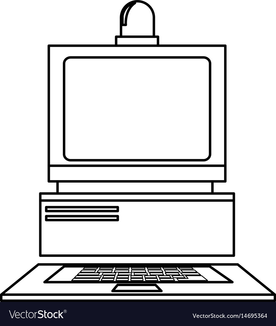 Computer laboratory equipment technology line vector image