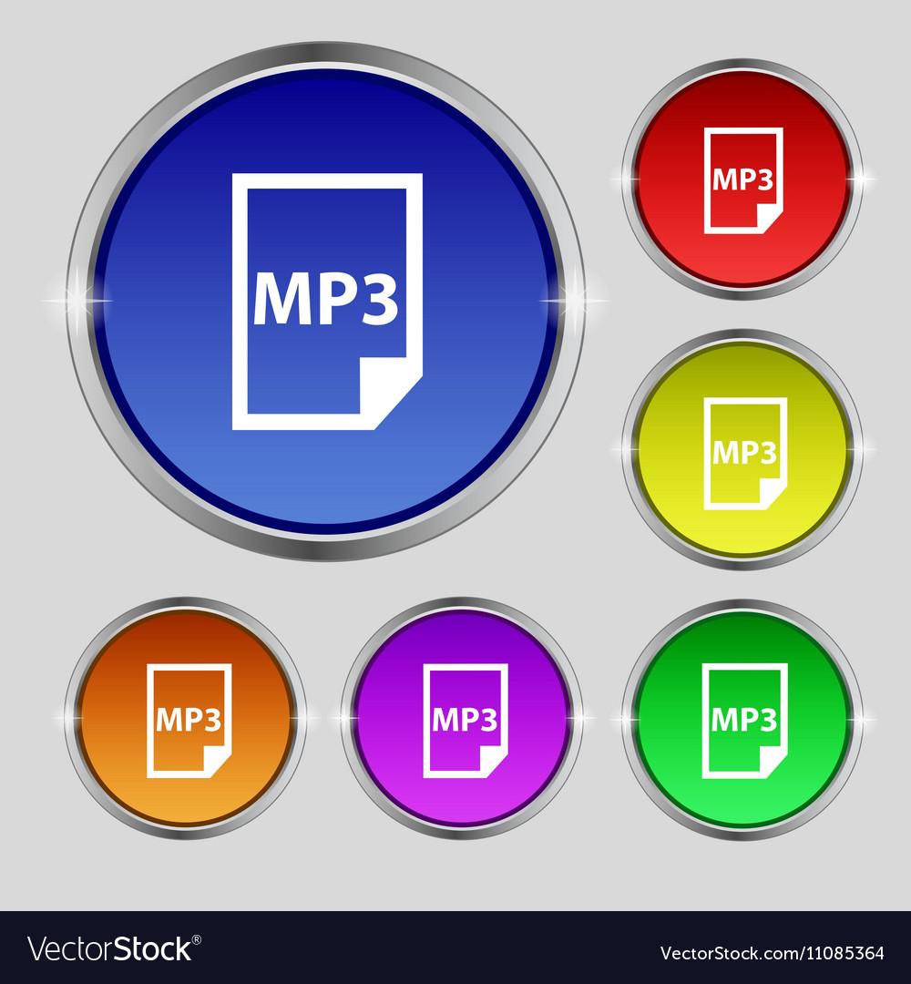 Mp3 icon sign Round symbol on bright colourful