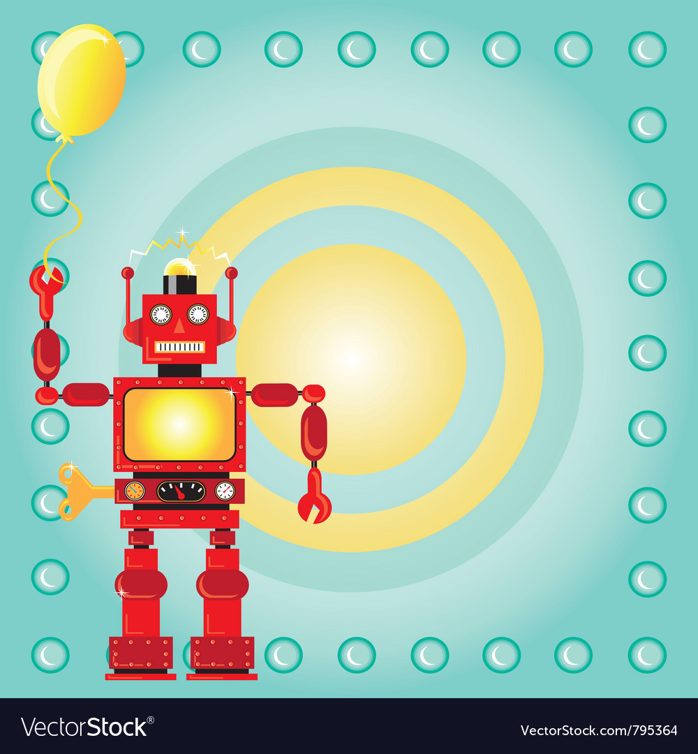 Robot birthday party invitation Royalty Free Vector Image