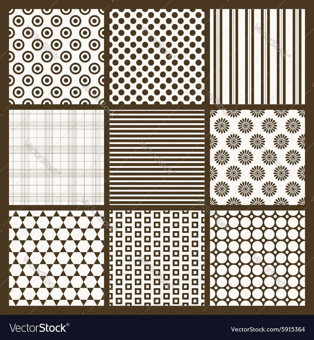 Set of 9 simple seamless monochrome patterns Part