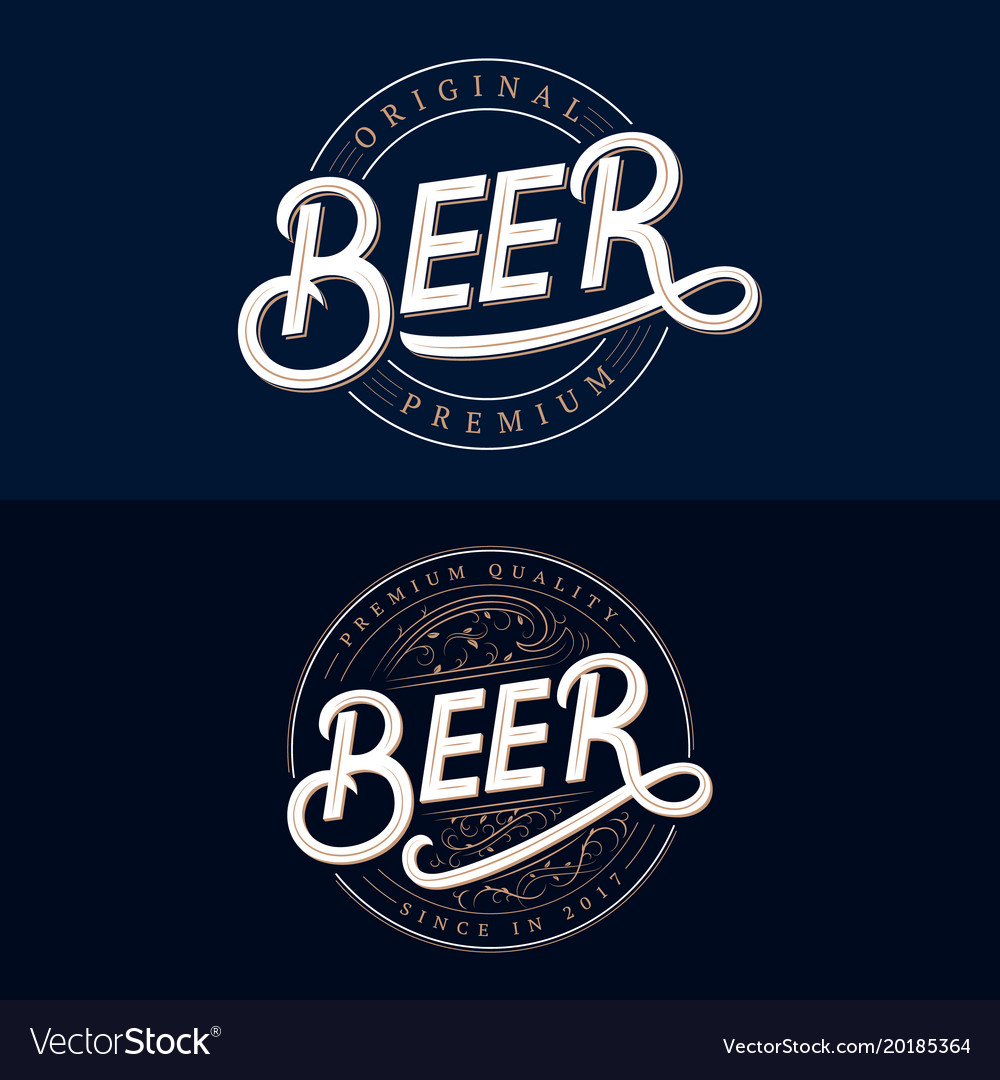 Set of beer hand written lettering logos