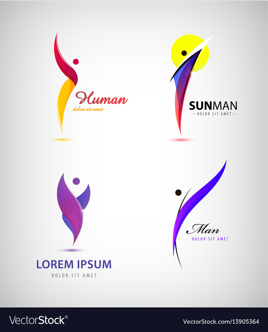 Set of creative human man logos leader