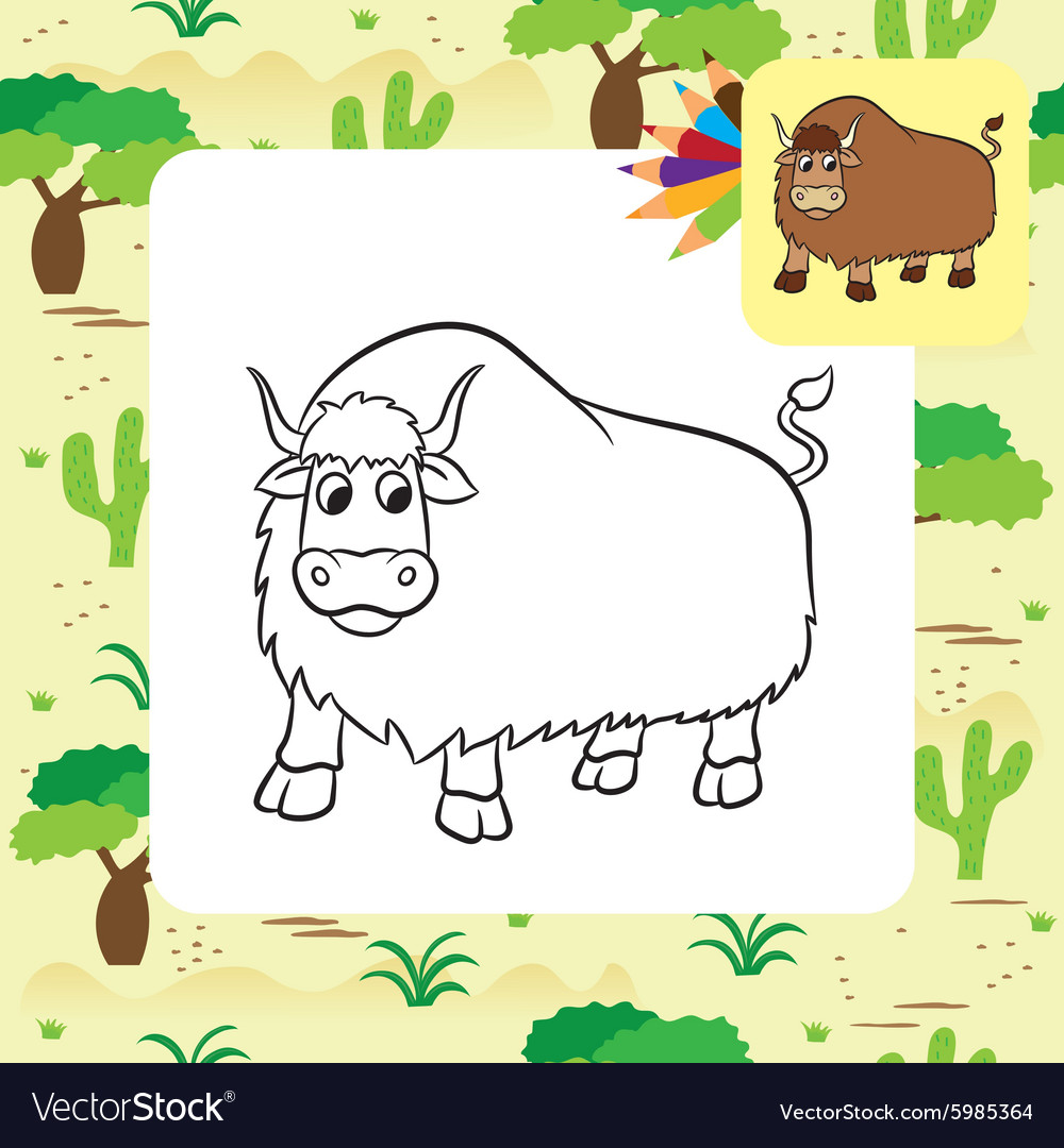 Yak Coloring Page Vector Image