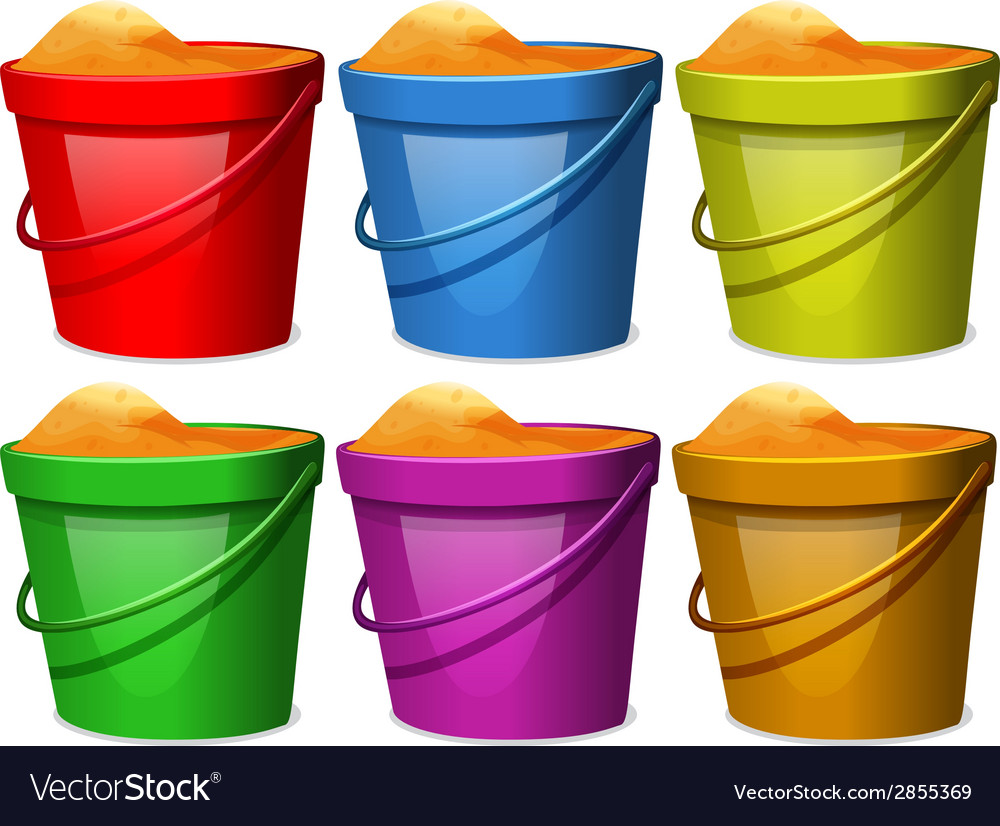 Colourful pails with sands