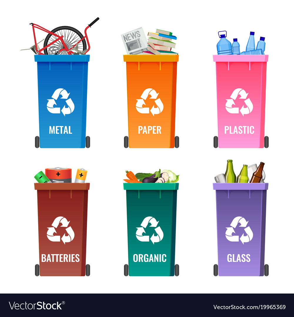 Containers set for sorting garbage blue for metal