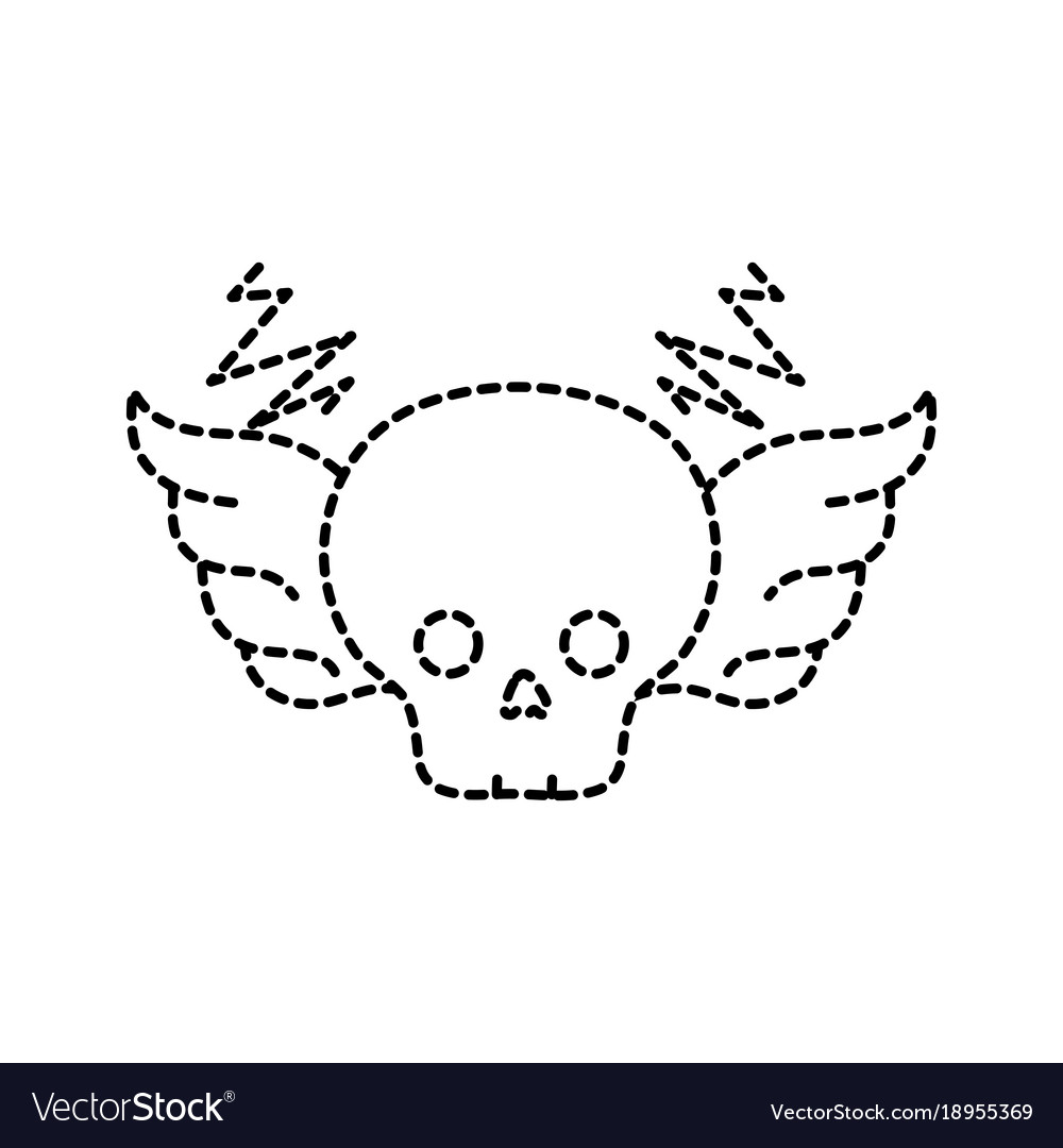 Dotted Shape Skull With Wings Rock Art Symbol Vector Image