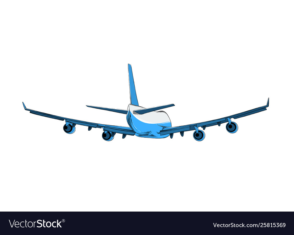 Drawing Airplane In Blue Color Isolated Royalty Free Vector