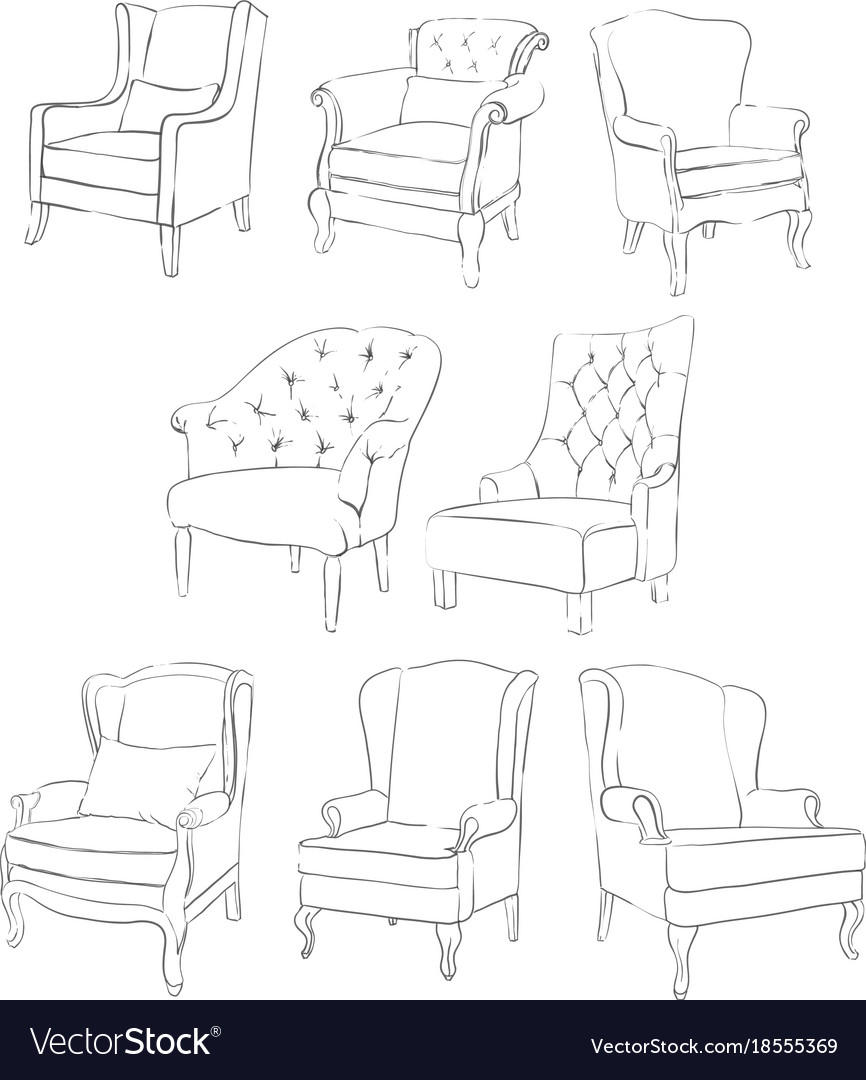 Exquisite Pencil Drawing Chair Vector Image