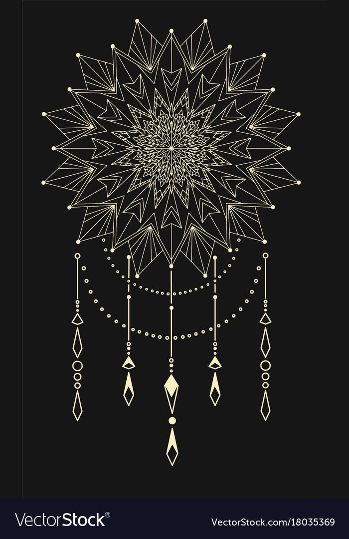Flower mandala dream catcher vector image