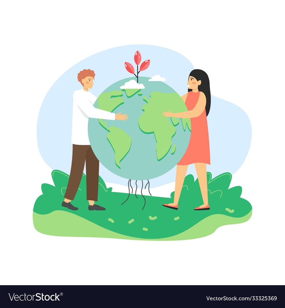 Global environmental protection man and woman
