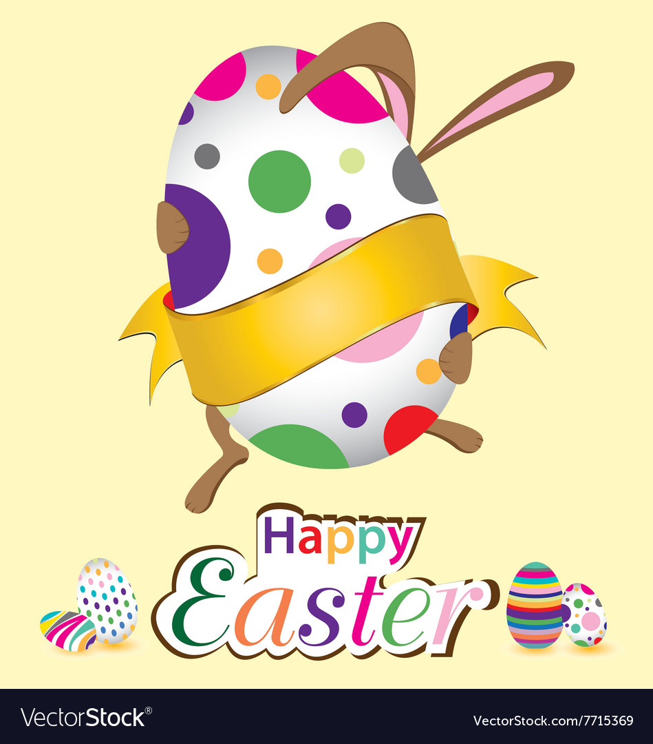 Happy Easter Bunny With Big Egg Little Gift At Vector Image