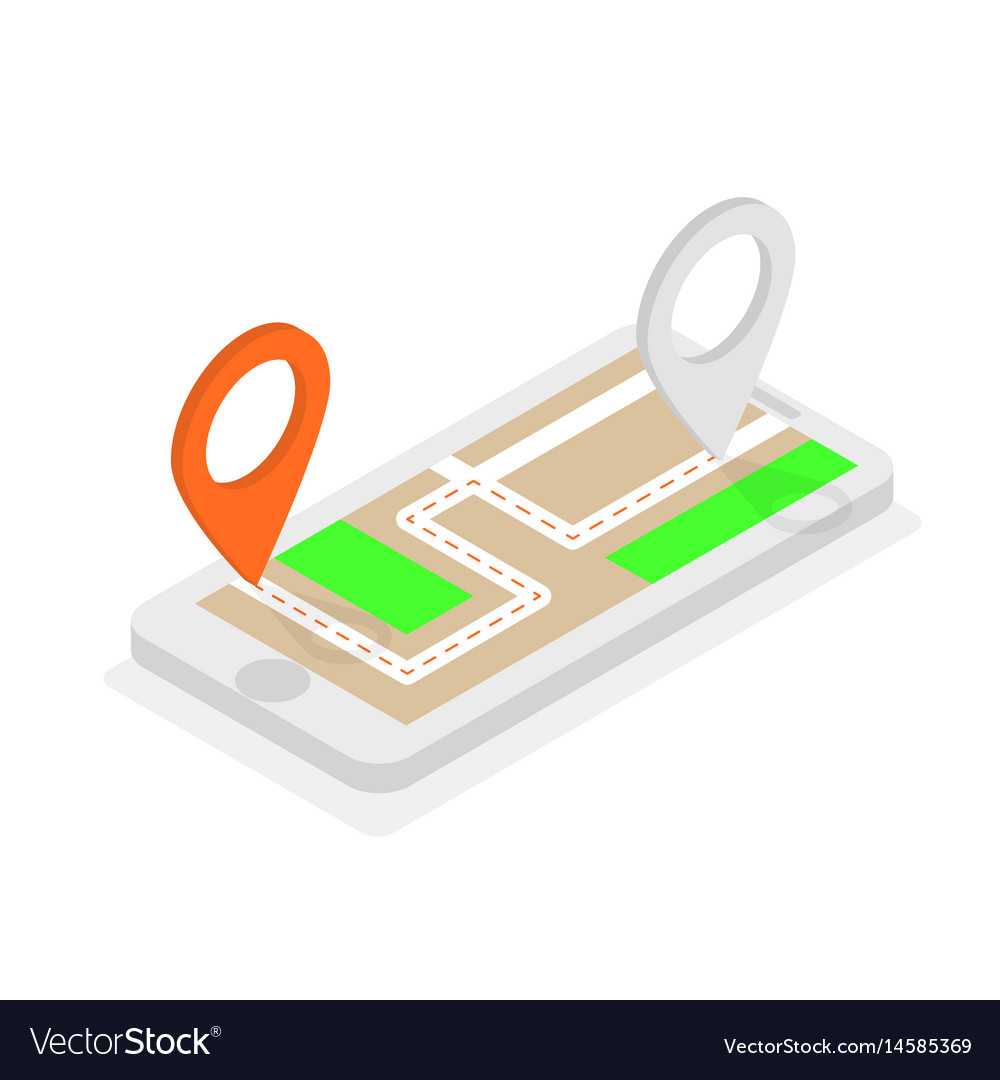 Isometric phone with location pins route planning vector image