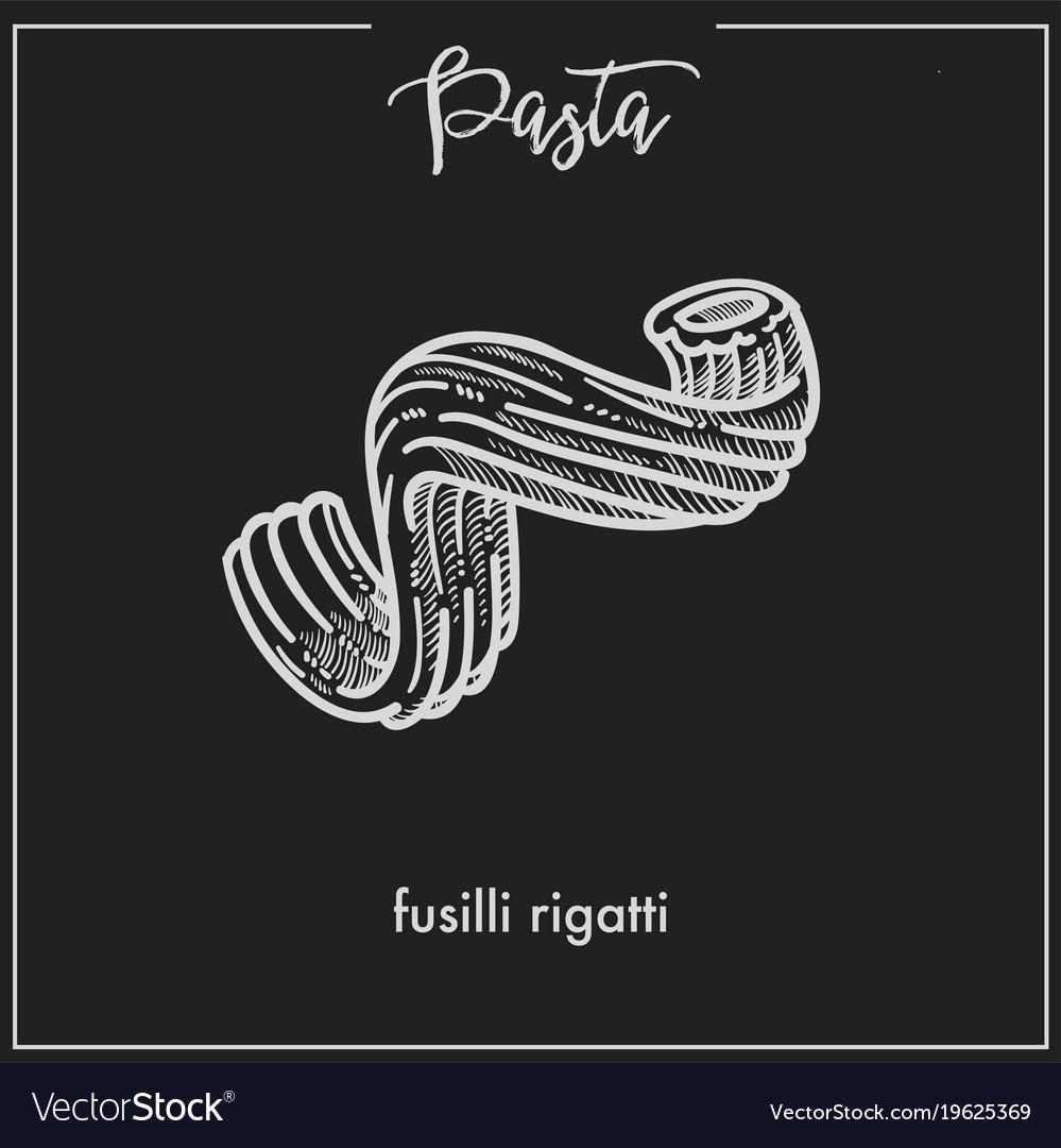 Pasta fusilli rigatti stars chalk sketch for