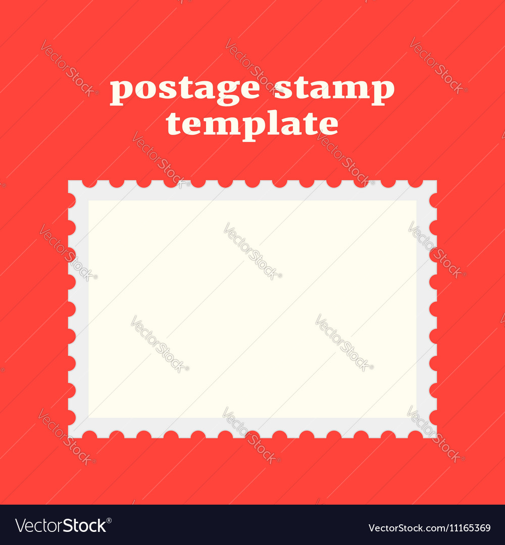 Postage stamp template on red background
