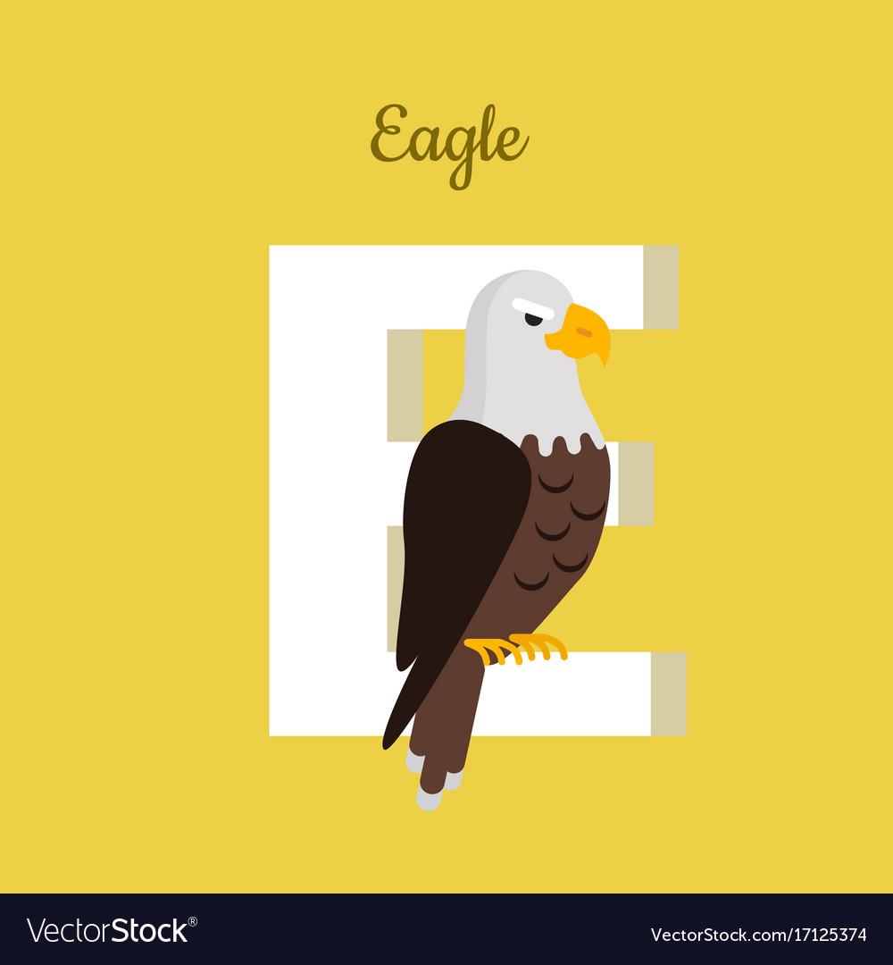 Animals alphabet letter - e