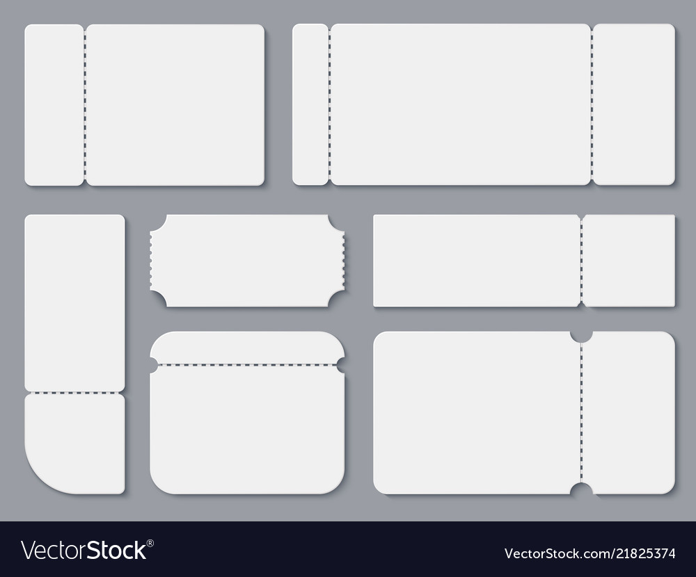 Blank Tickets White Theater And Cinema Ticket Vector Image