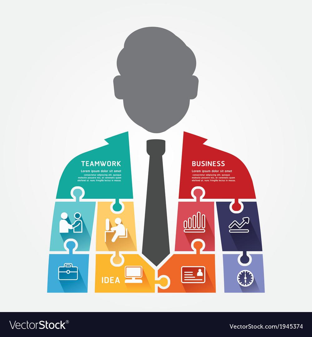 Businessman infographic Template jigsaw banner