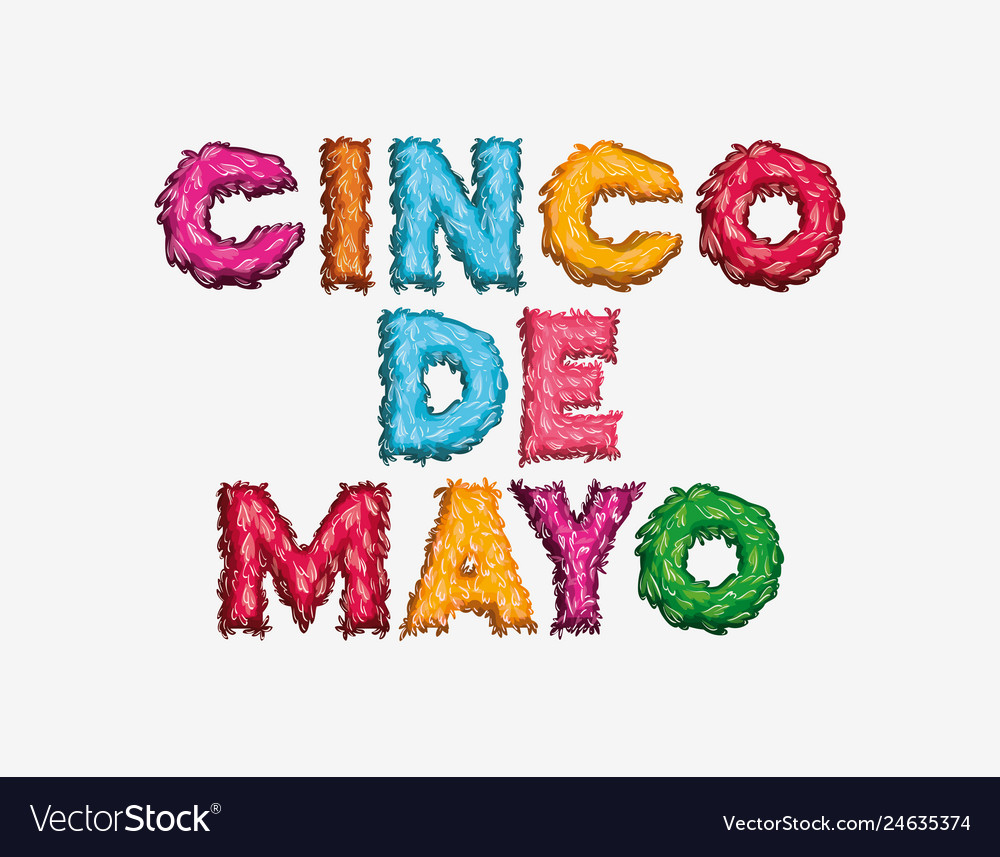 Cinco De Mayo Card With Font Colors Vector Image