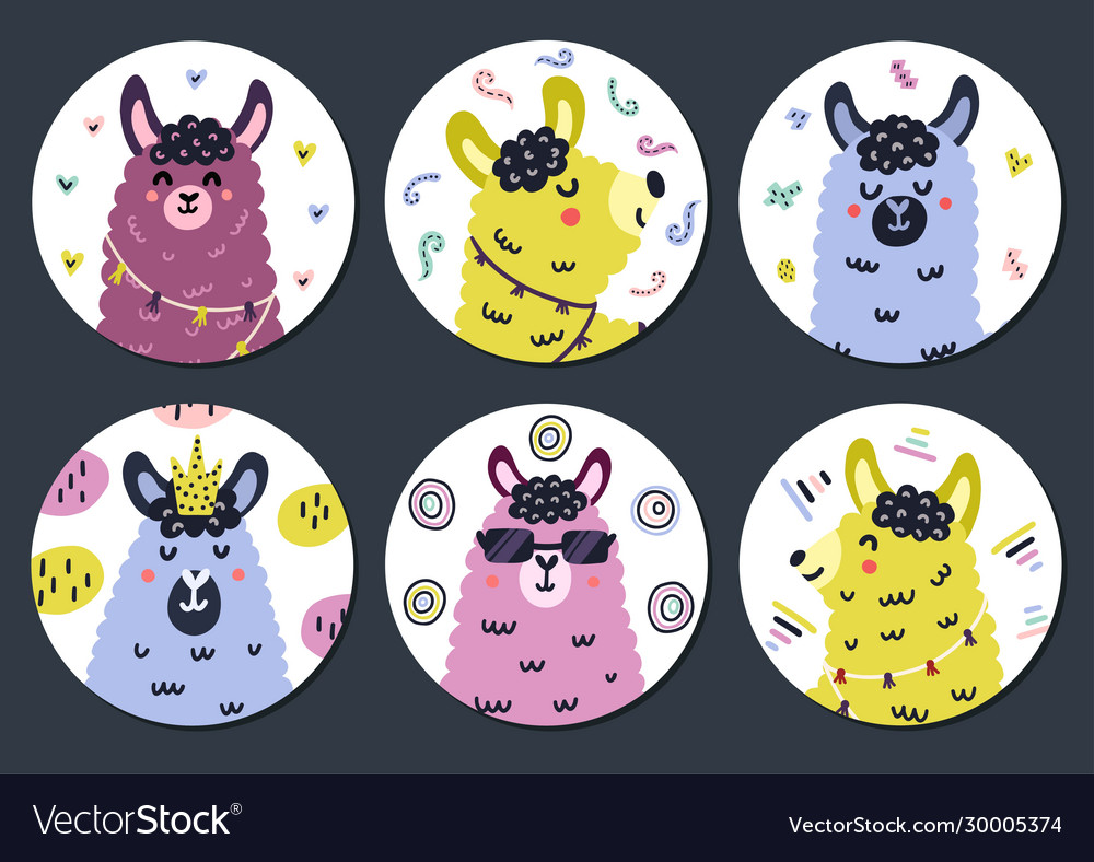 Circle Shape Stickers Set With Cute Llama For Kids