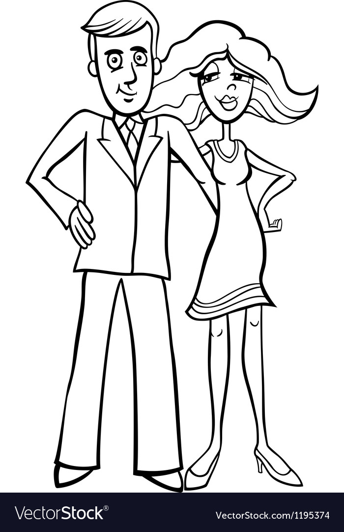 Cute couple cartoon for coloring vector image