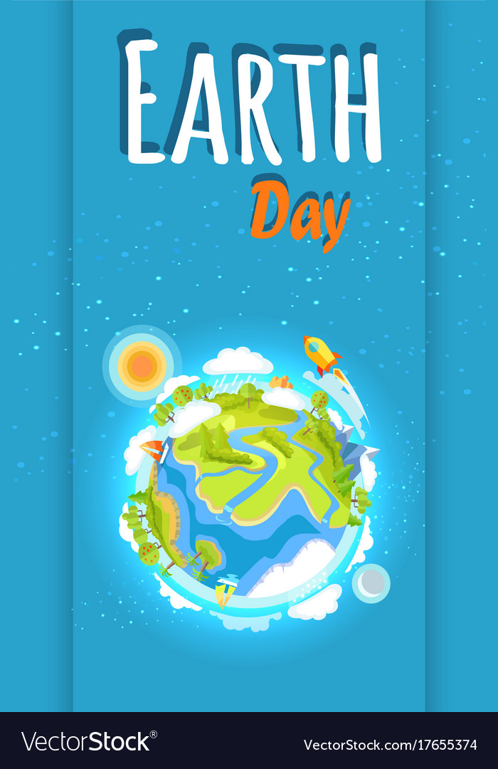 Earth day holiday poster with planet