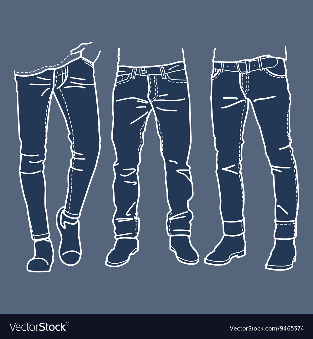 Fashion Collection of mens jeans vector image