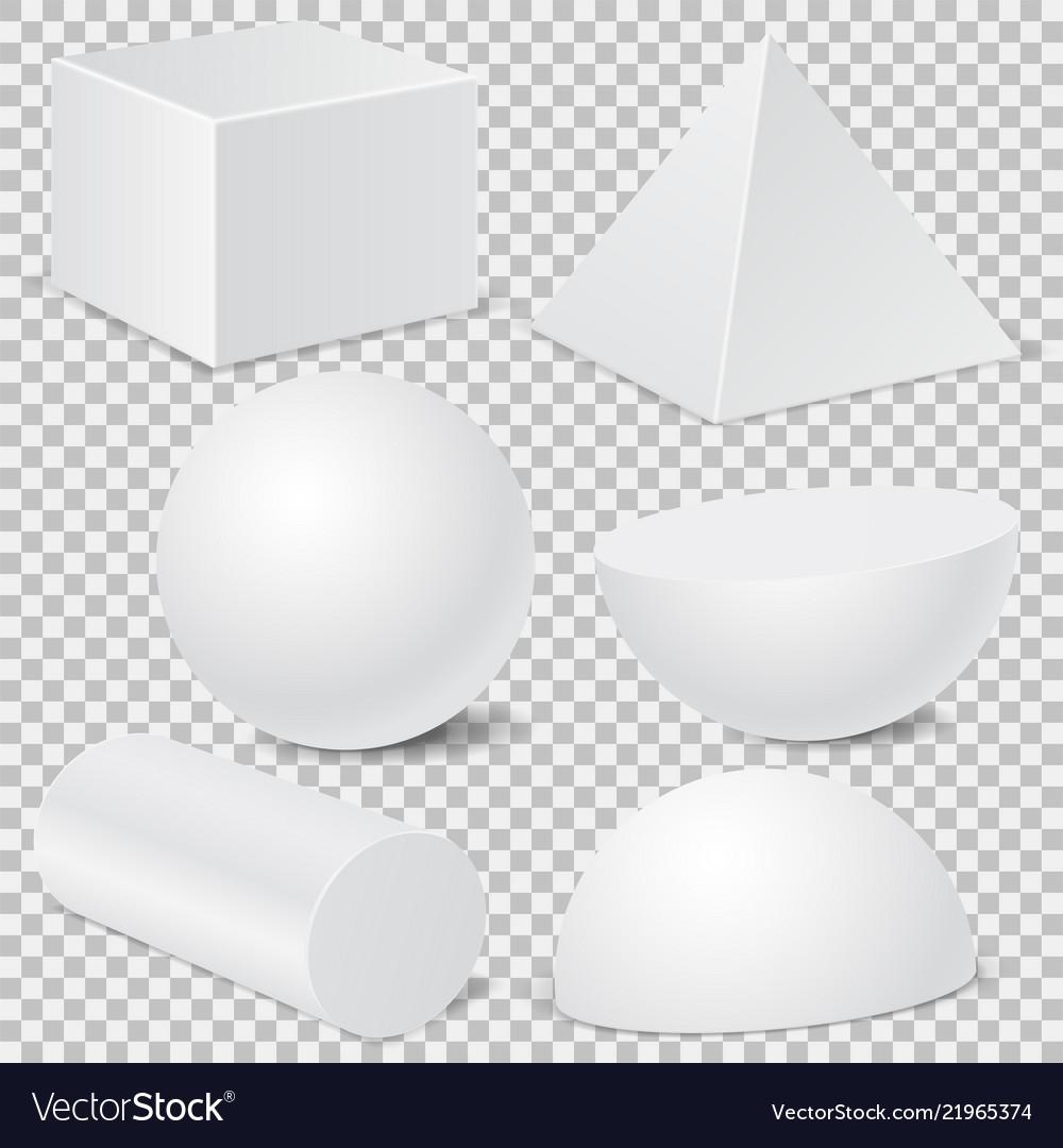 Geometric shape mockup set 3d templates isolated
