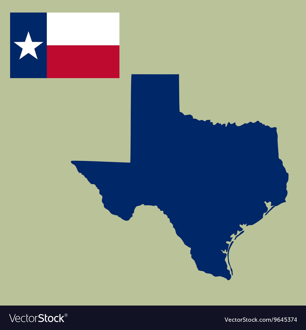 Map of the US state of Texas with flag