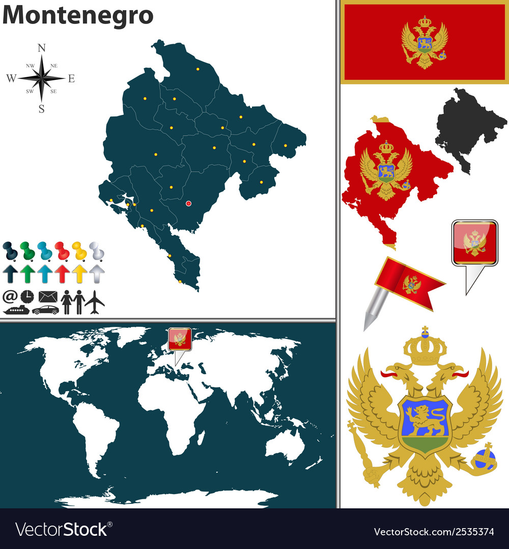 Montenegro map vector image