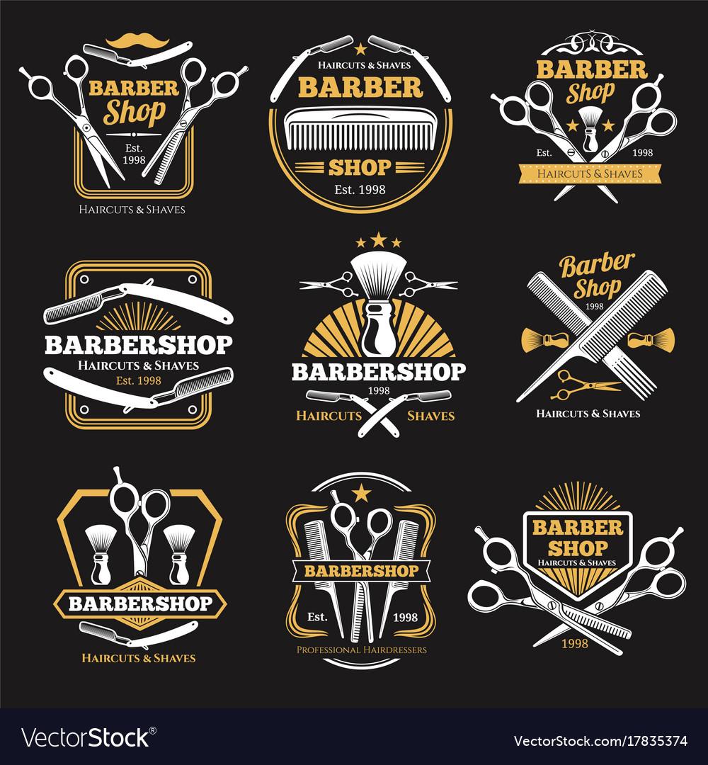 Old barbershop emblems and labels vintage