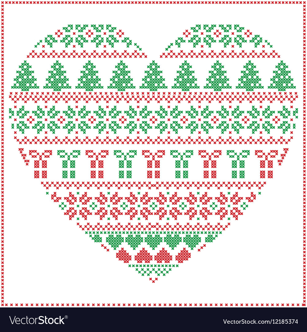 Pattern cross stitch heart shape in green and red