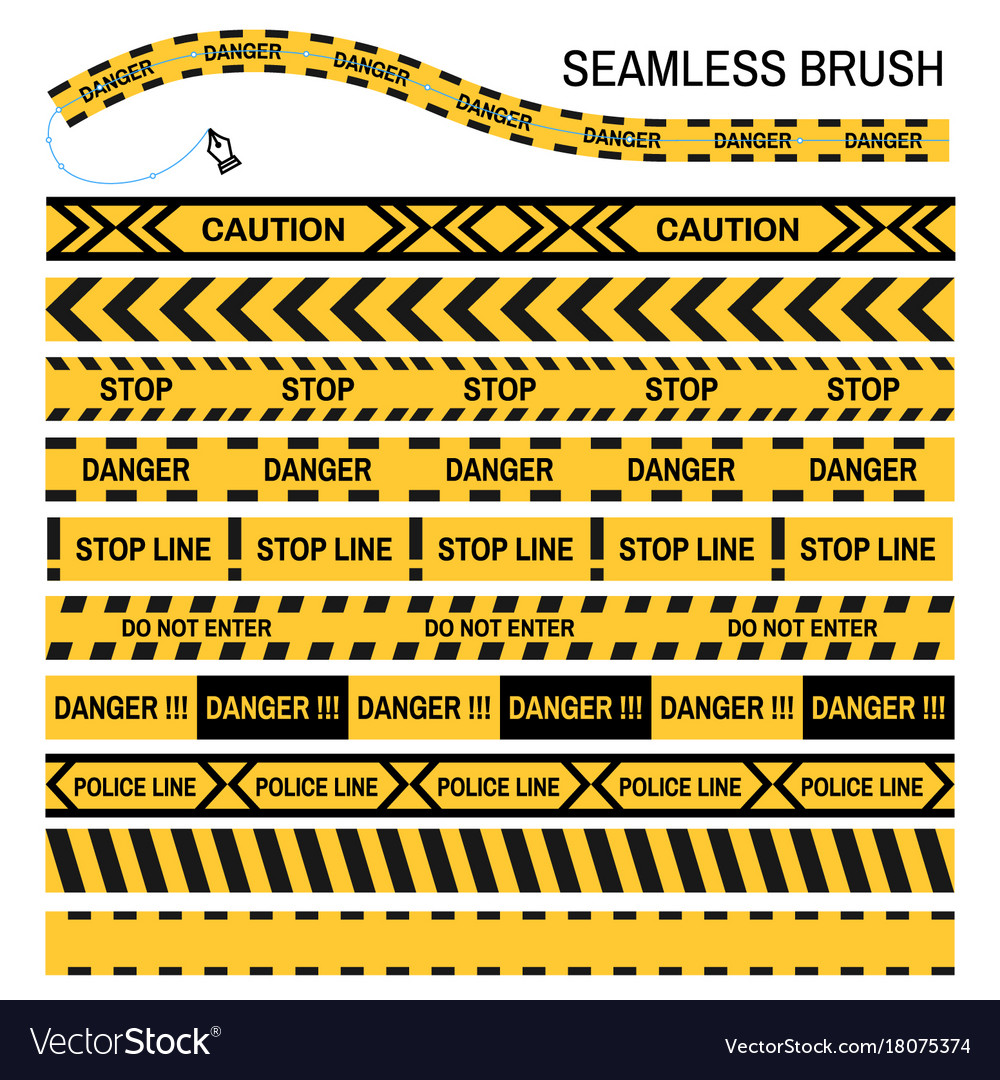 Police yellow tape seamless brush design