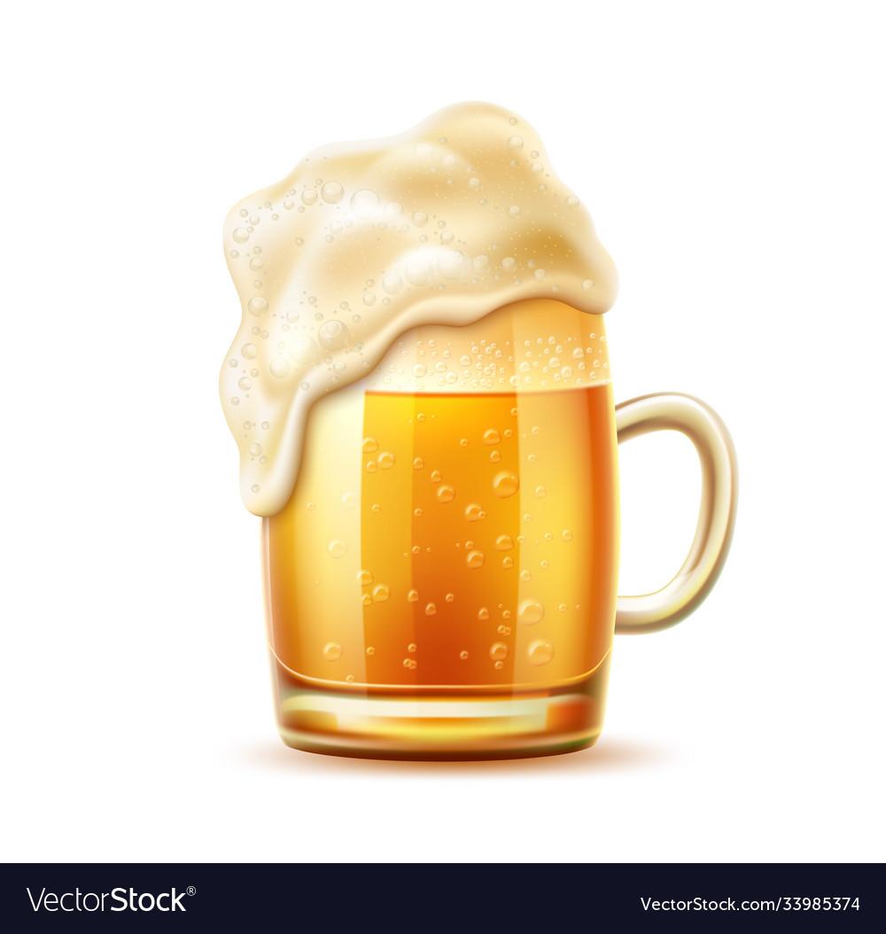 Realistic beer glass mug lager ale