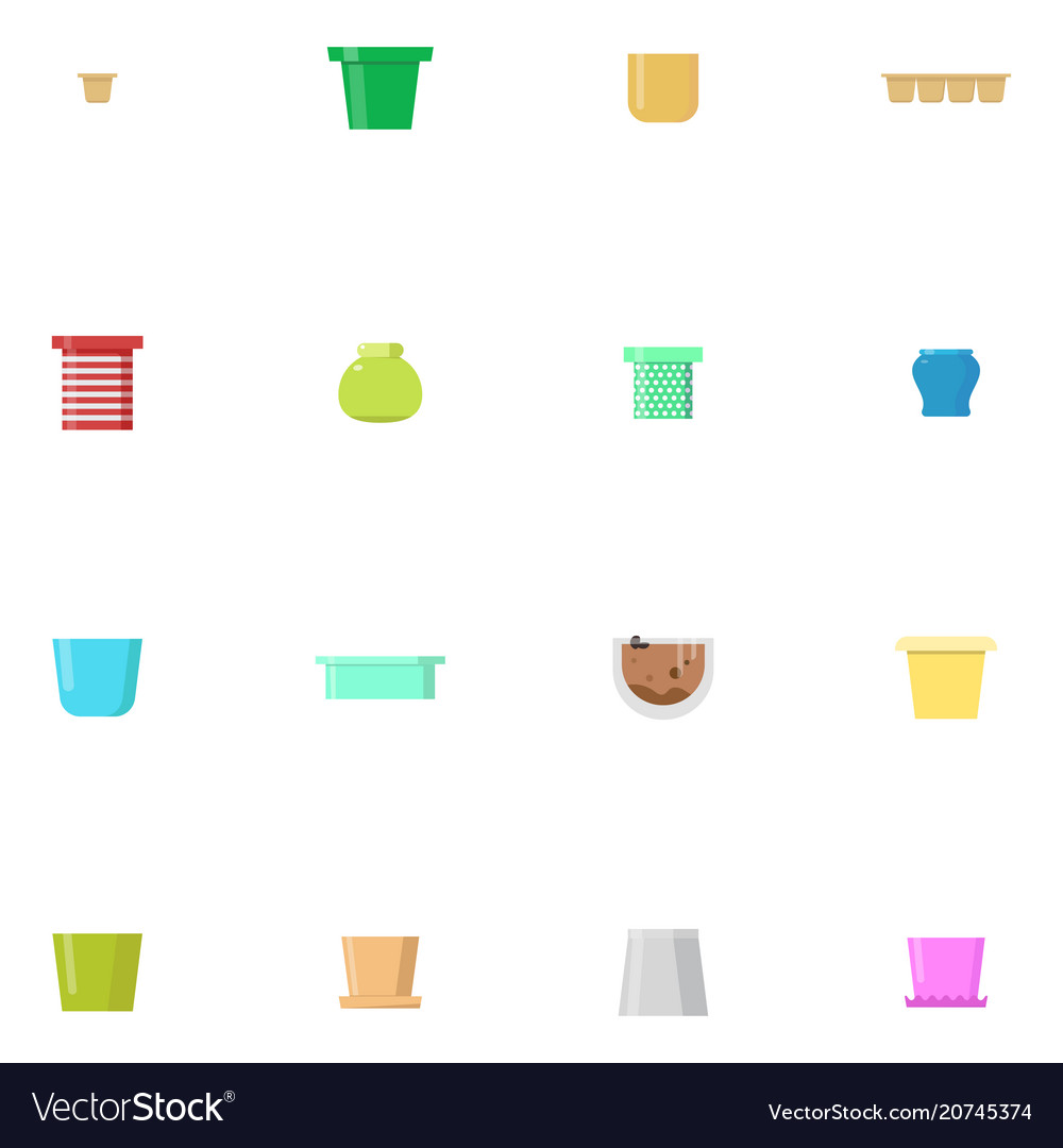 Set of flower pots isolated