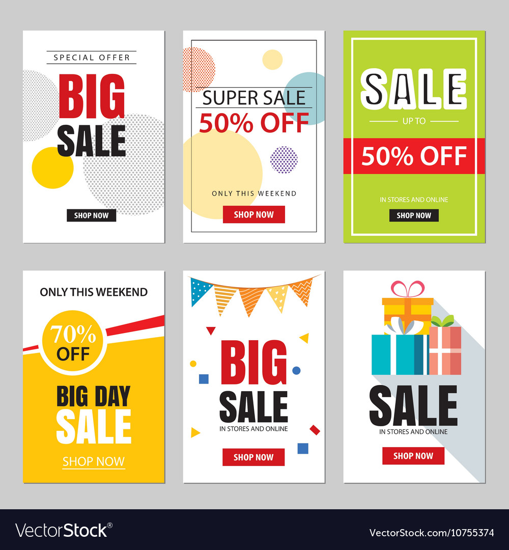 Set Of Sale Website Banner Templates Royalty Free Vector