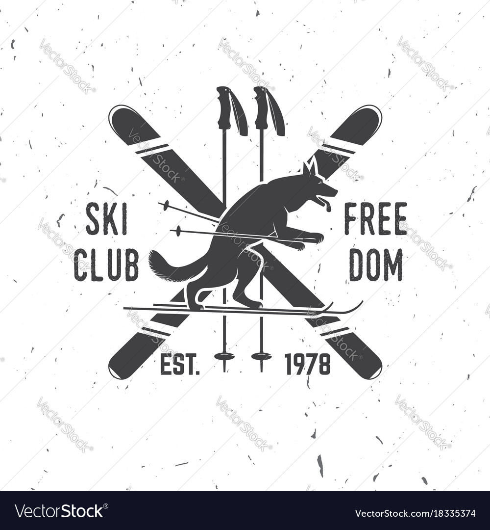Ski club concept with wolf vector image