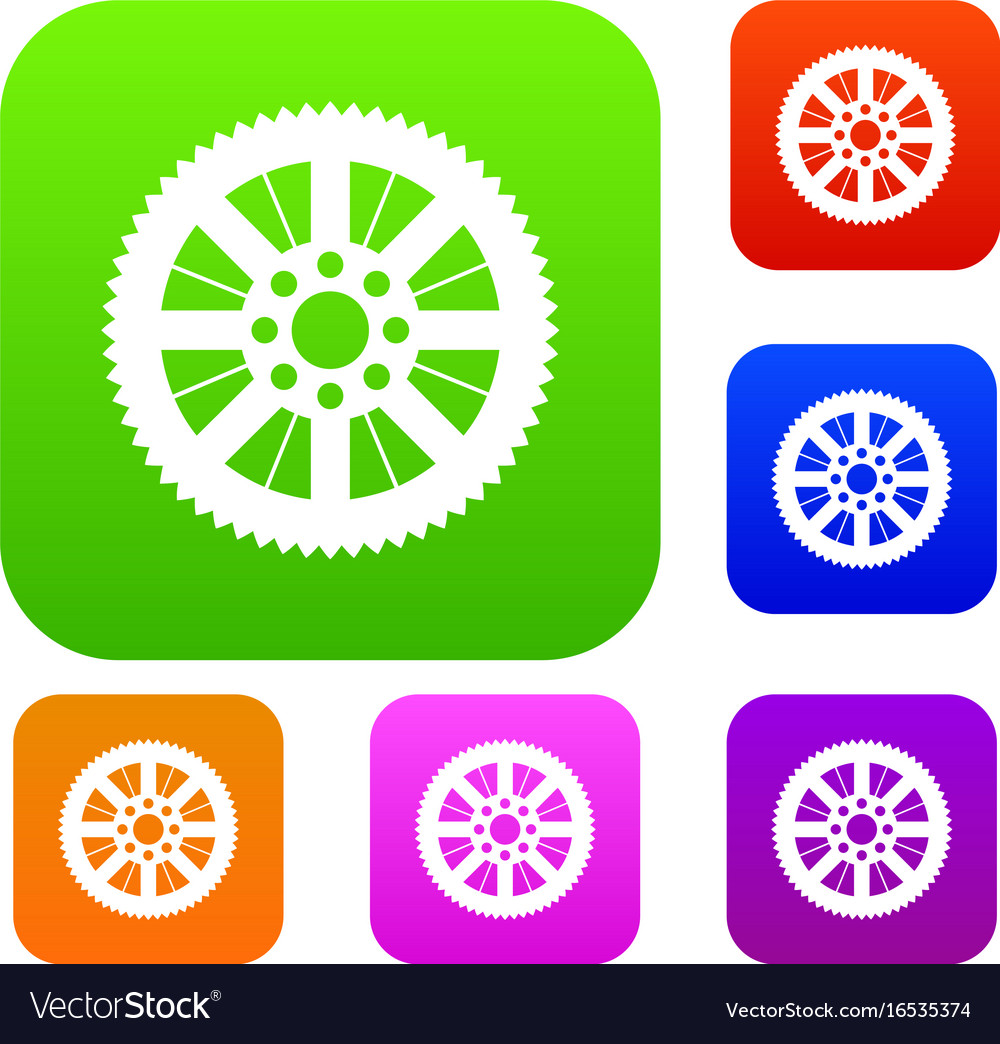 Sprocket from bike set collection vector image