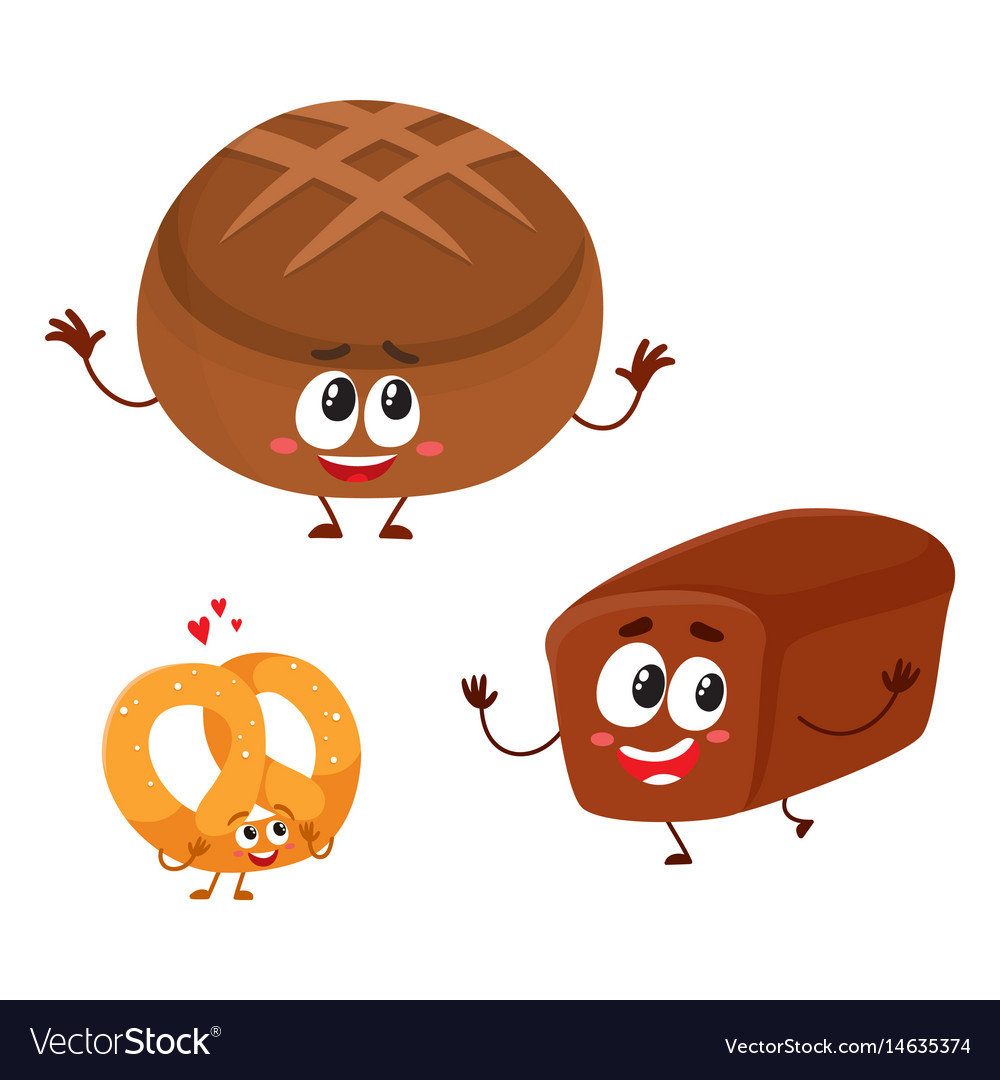 Two smiling funny whole wheat dark brown bread vector image