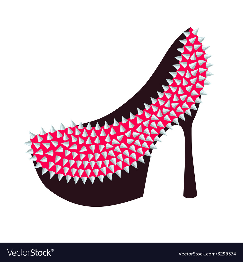 Womens high-heeled pink shoes decorated with studs vector image