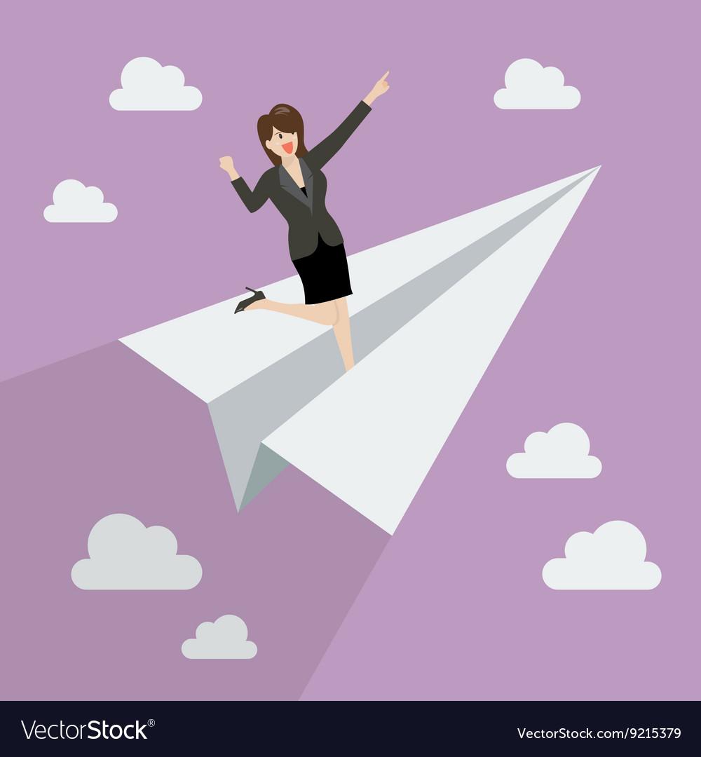 Business woman on paper rocket