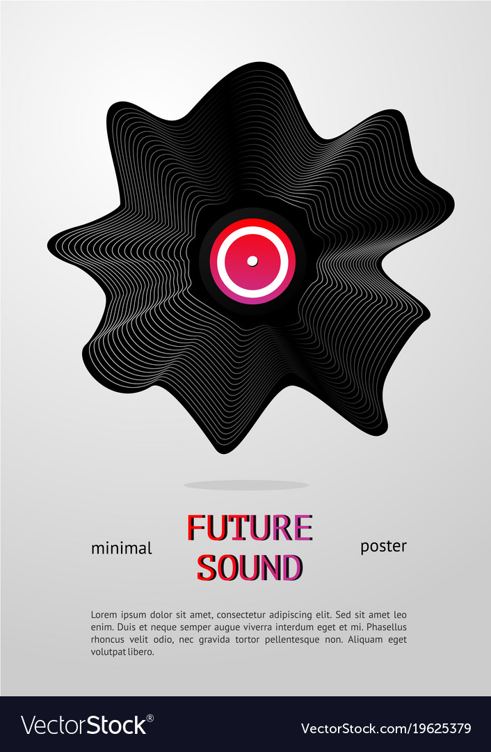 Club music poster with deformed vinyl disc vector image