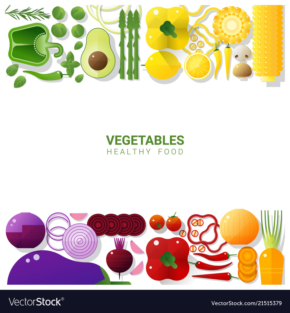 Flat lay fresh vegetables on white background