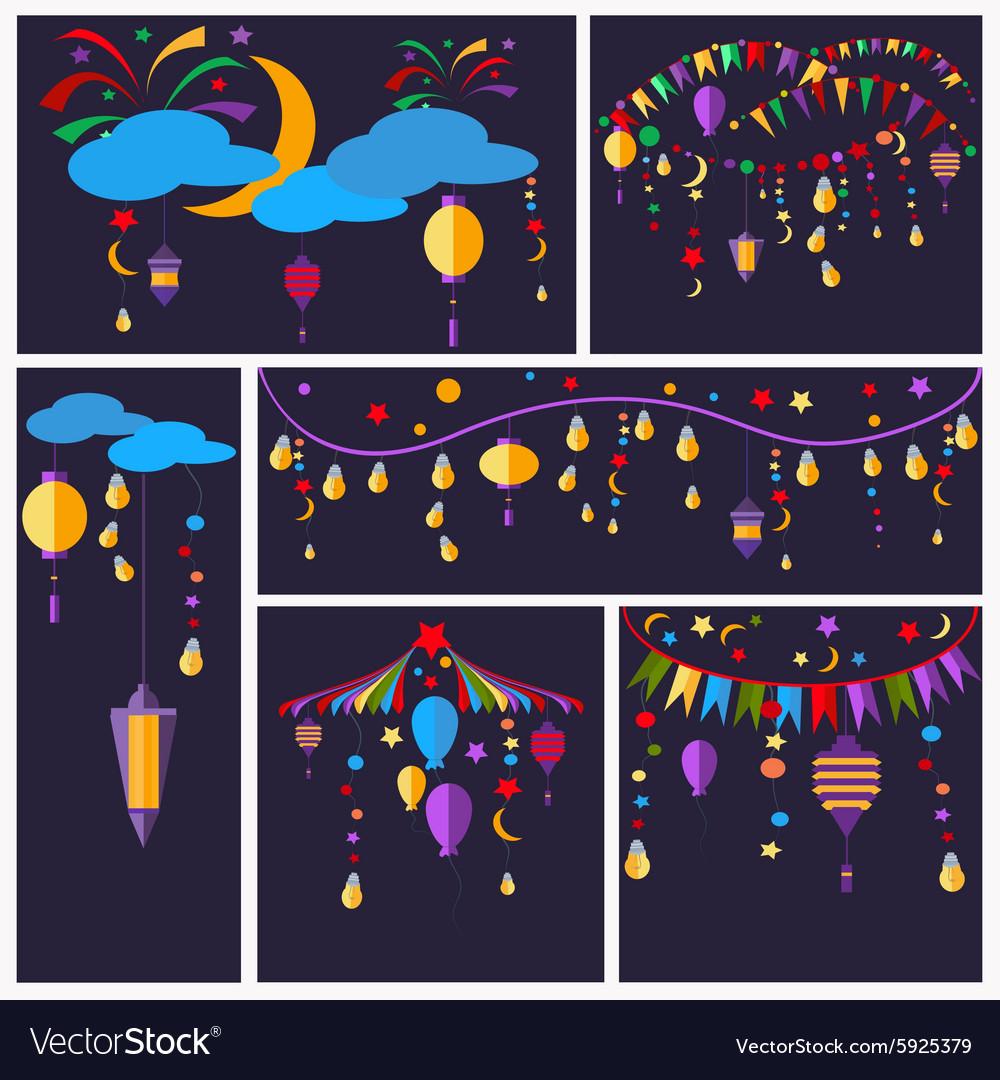 Holiday greeting cards flashlight ball star vector image