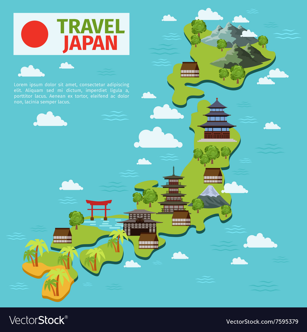 Japan travel map with traditional japanese