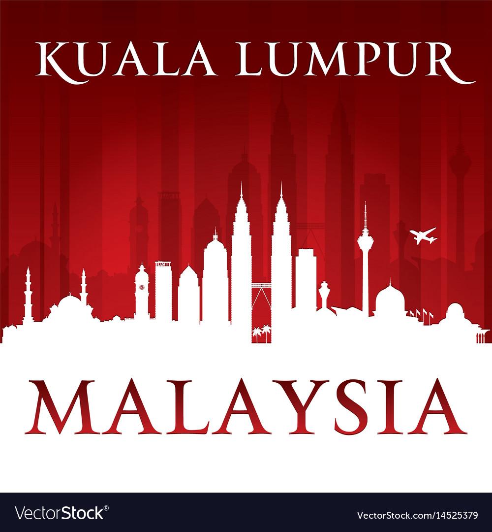 Kuala lumpur malaysia city skyline silhouette red