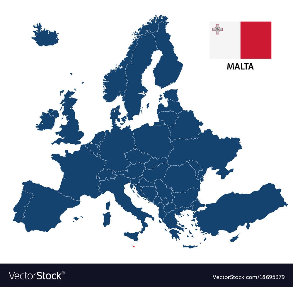 Map of europe with highlighted malta vector image