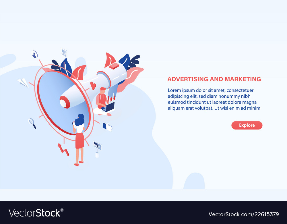 Modern web banner template with giant megaphone or
