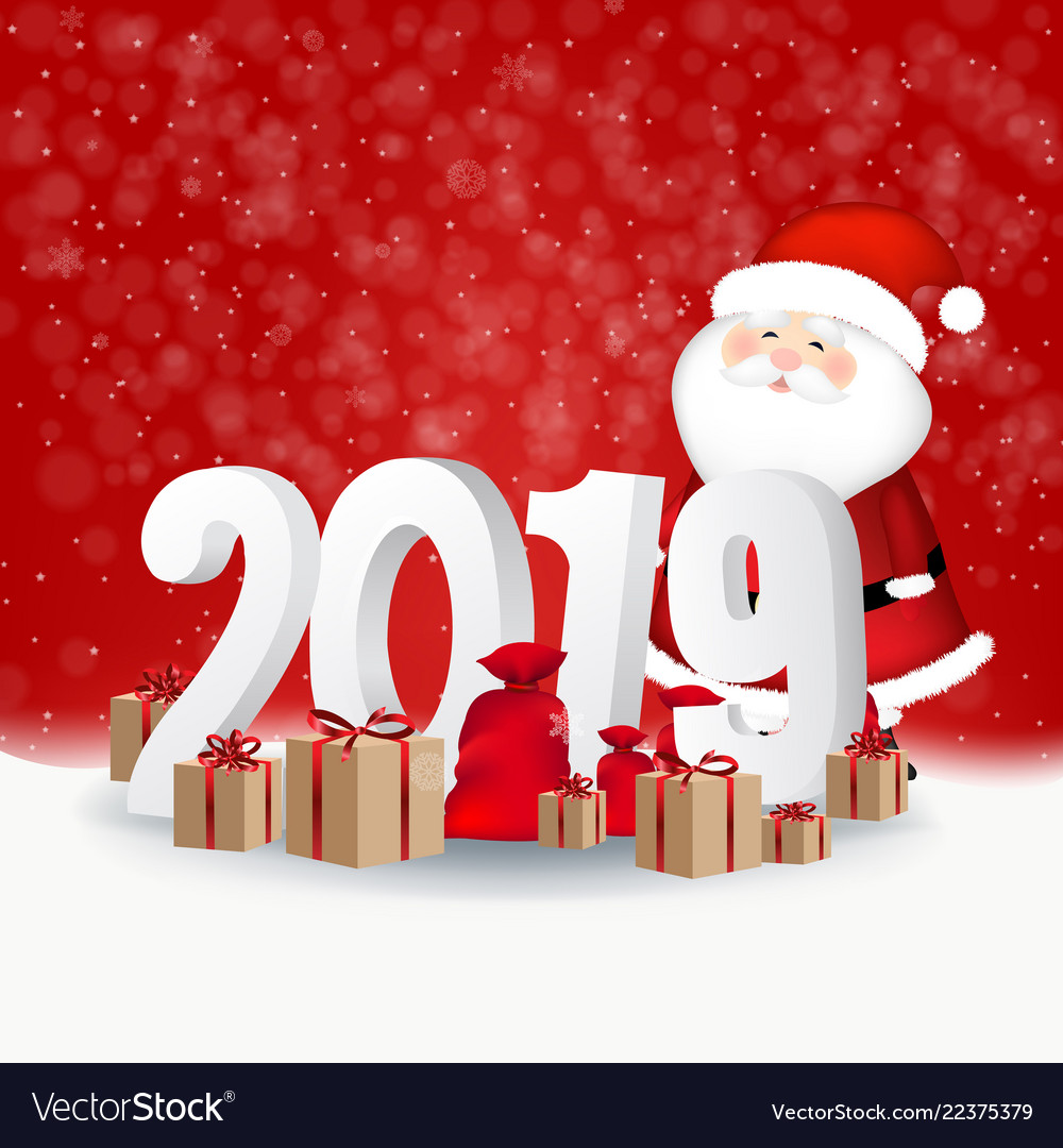 New year red background card